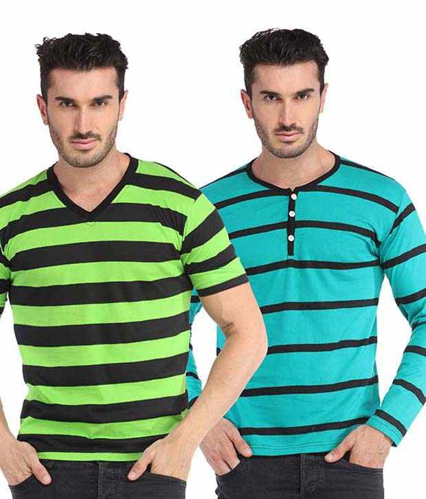 Leana Multicolor Cotton T-shirt - Pack Of 2