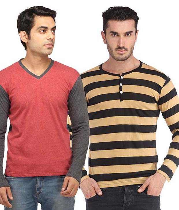 Leana Multicolor Cotton T-shirt - Pack Of 2