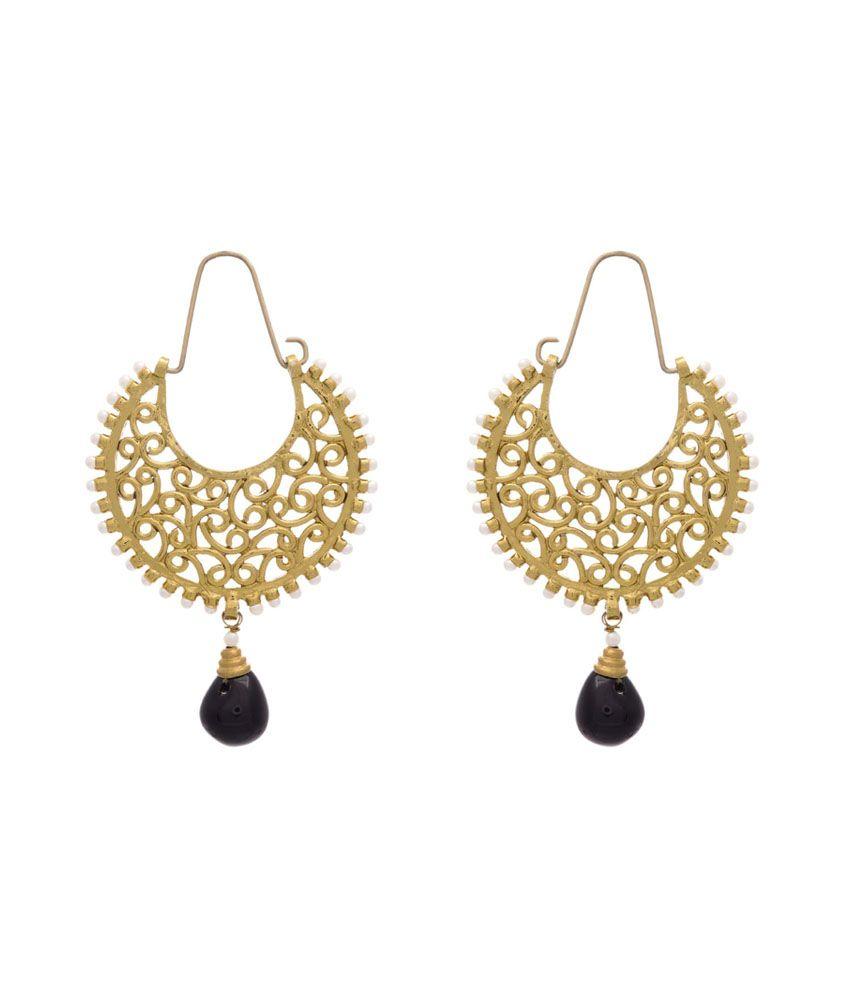 Jfl - Jewellery For Less Black Gold Plated Huggies Earrings