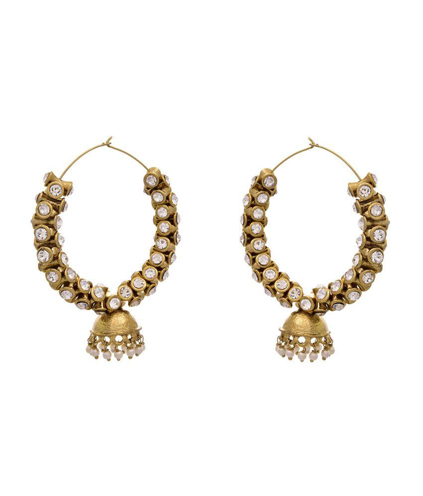 Jfl - Jewellery For Less Golden Gold Plated Hoop Earrings