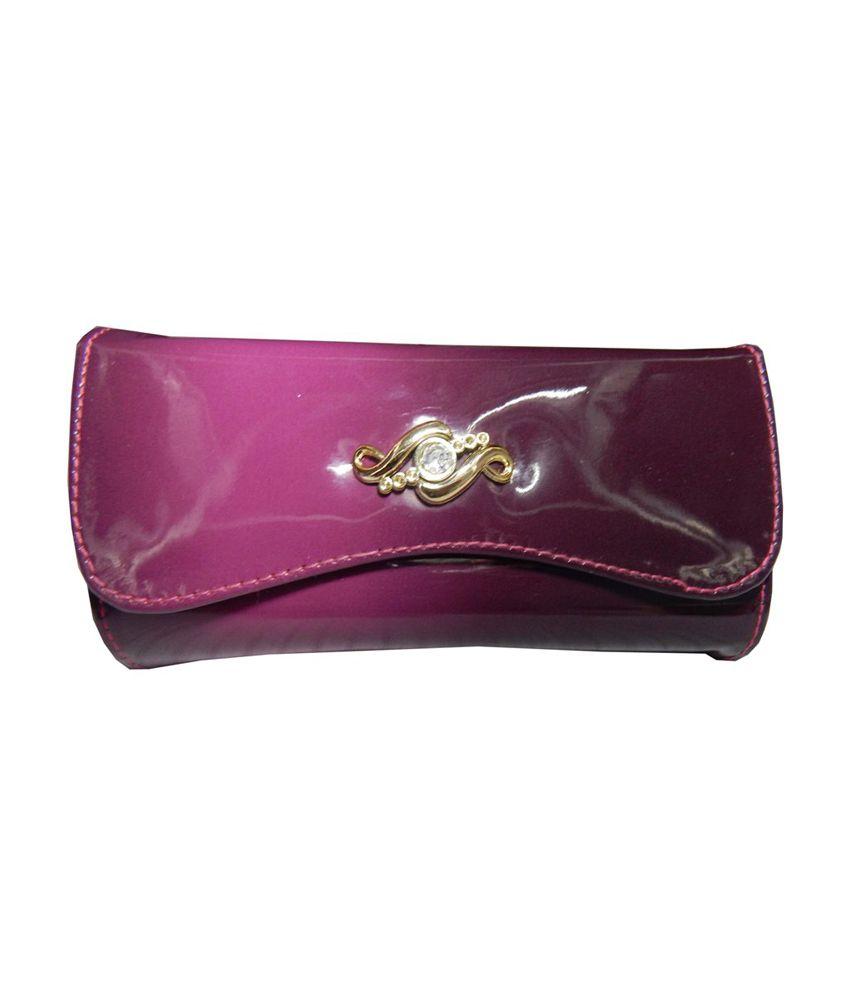 Navaksha Pink Designer Non Leather Regular Wallet