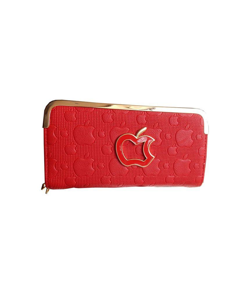 Navaksha Red Designer Non Leather Regular Wallet