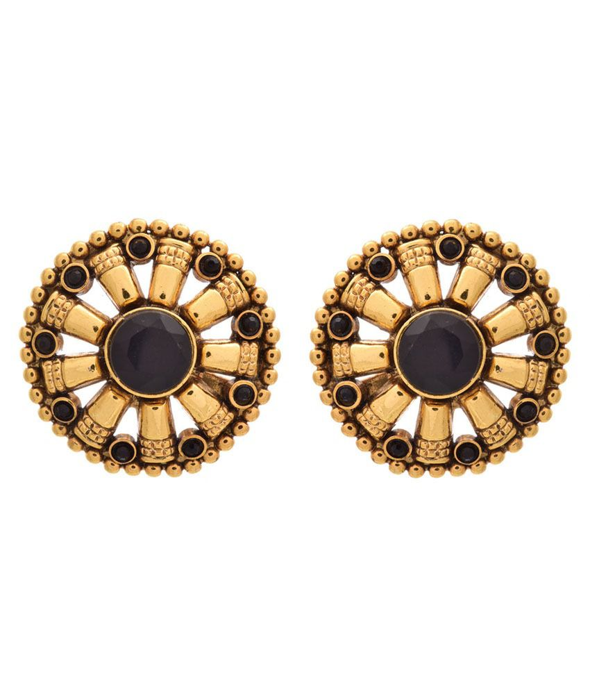 Jfl - Jewellery For Less Black Gold Plated Stud Earrings