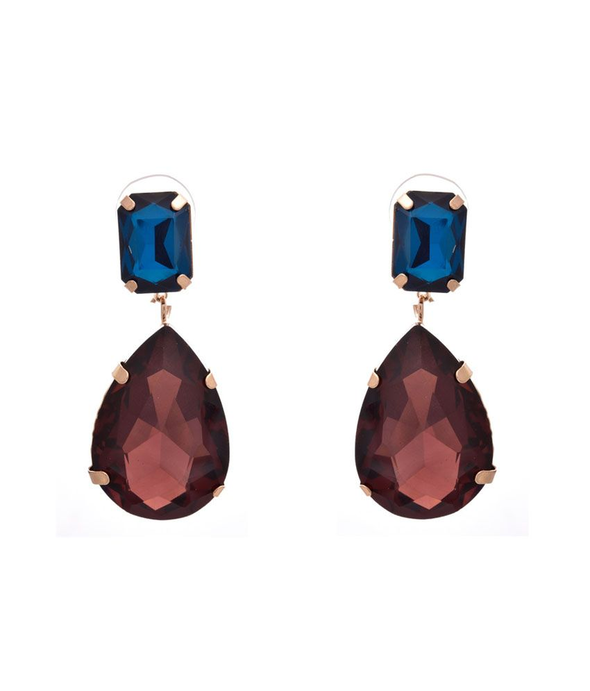 Jfl - Jewellery For Less Blue Gold Plated Hanging Earrings