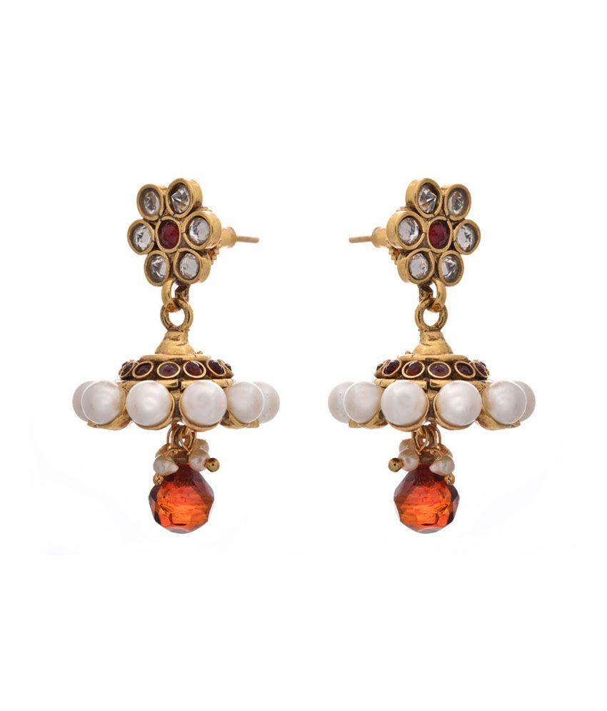 Jfl - Jewellery For Less Orange Gold Plated Jhumkis