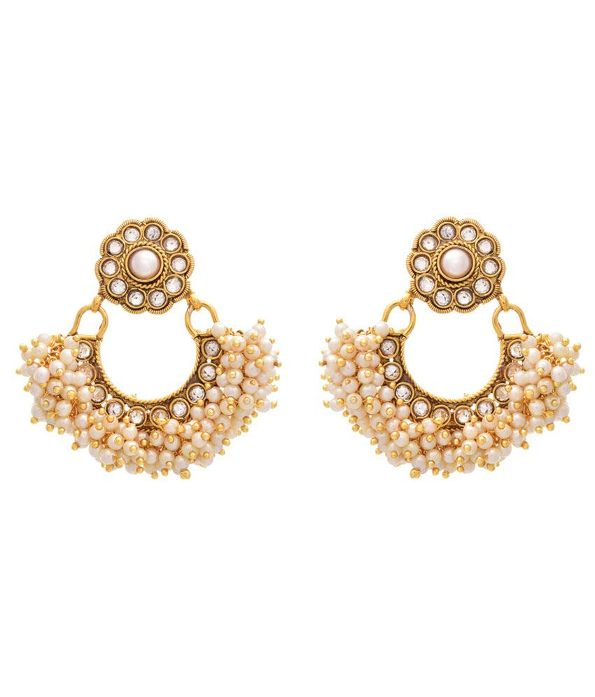 Jfl - Jewellery For Less White Gold Plated Hanging Earrings