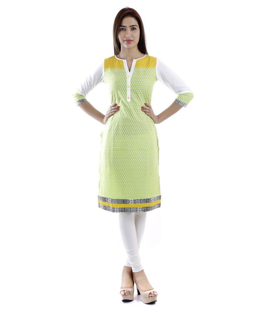 Vasudha Green Straight Cotton Kurti