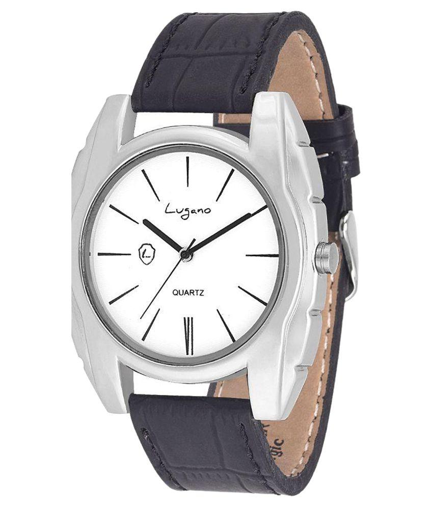 Lugano LG 1030 Leather Analog Men #039;s Watch