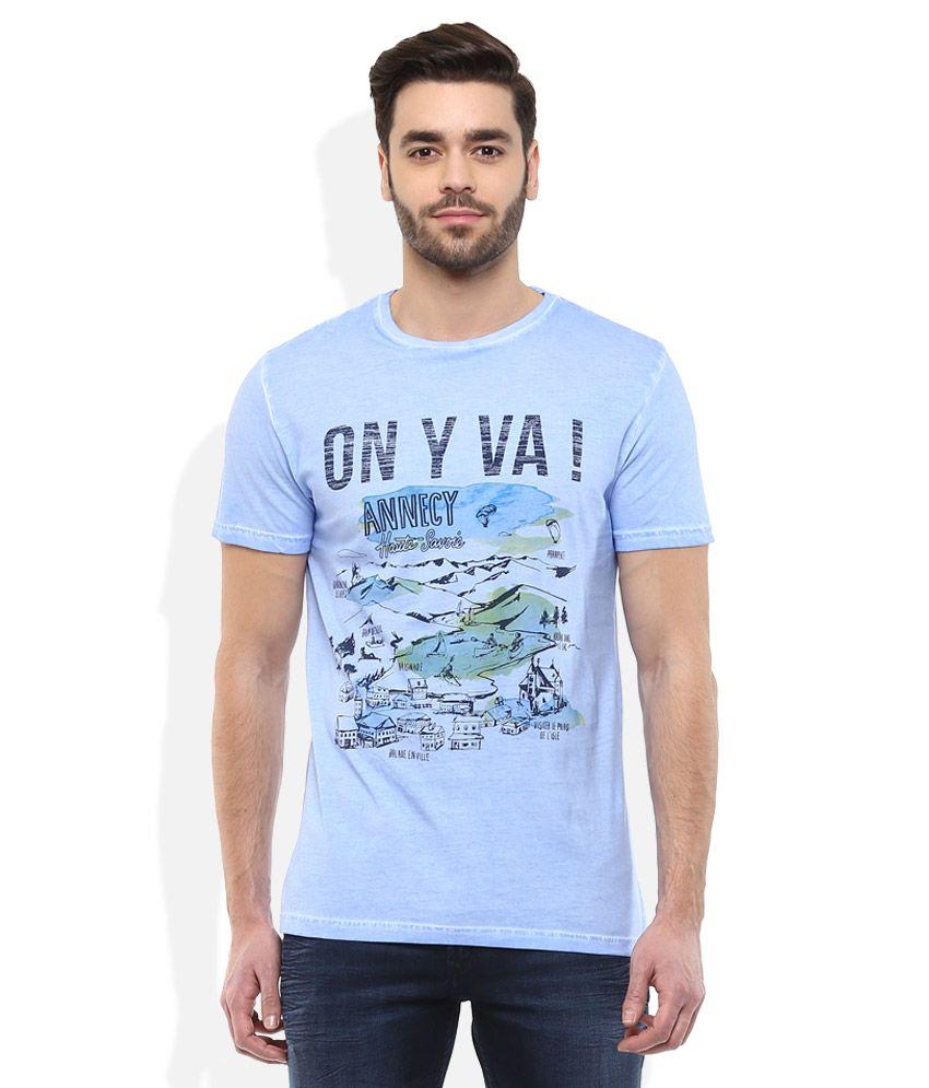 Celio Blue Round Neck T Shirt