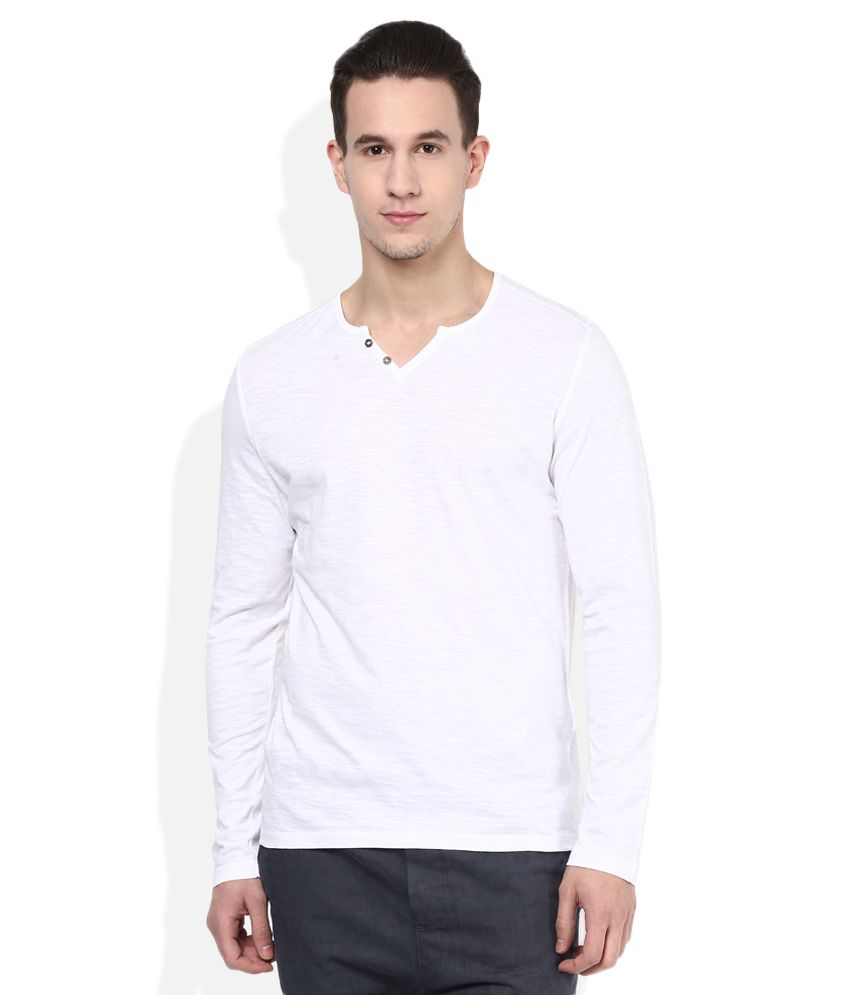 Celio White V-Neck T Shirt