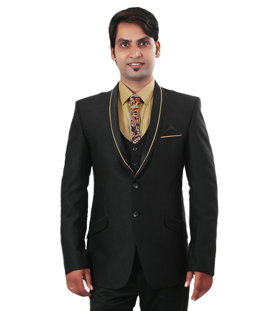Ethnic Monarch Black Polyester Tuxedo Blazer