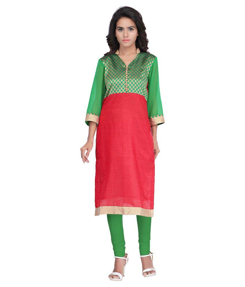 Indi Wardrobe Red Straight Silk Kurti