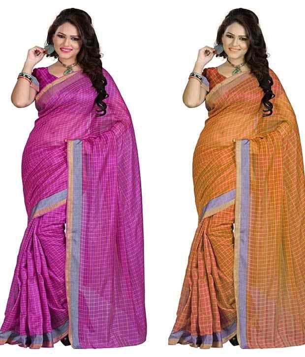 IndianEfashion Multi Cotton Silk Pack Of 2