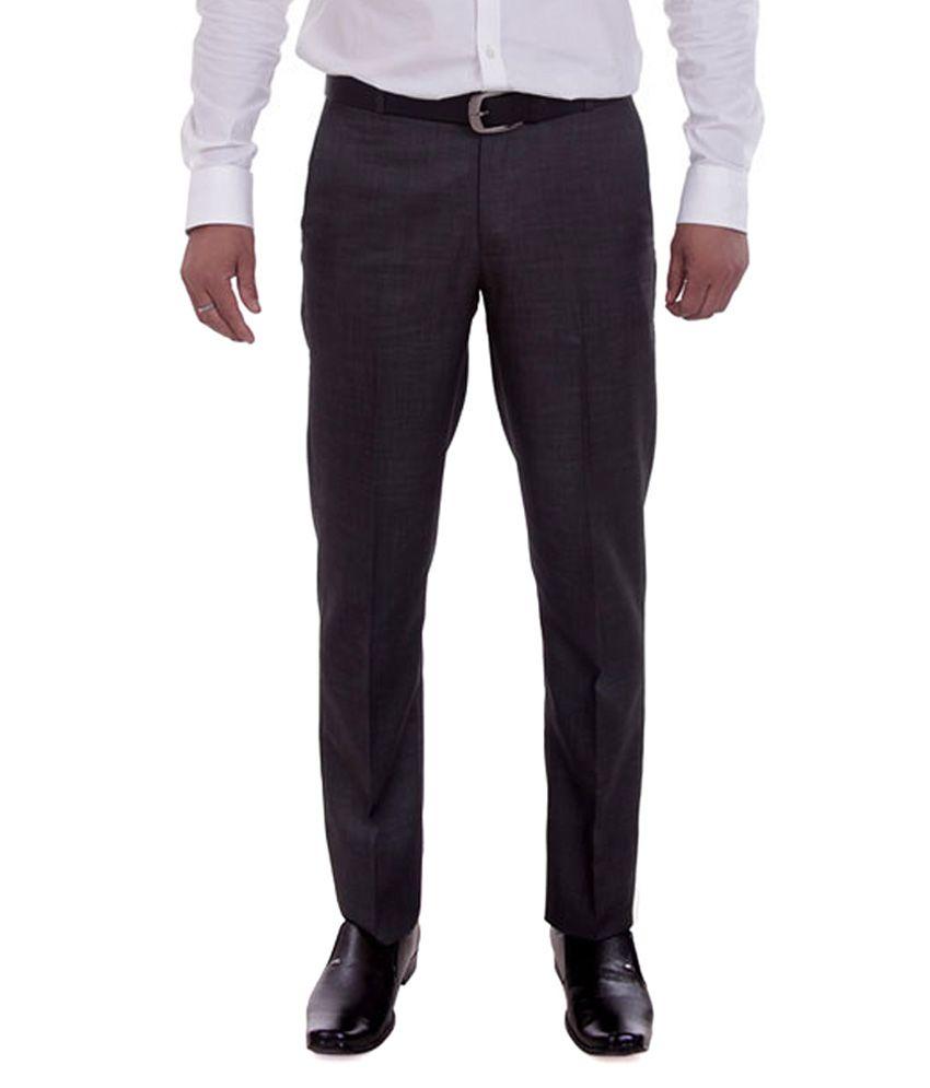 Numerics Black Regular Fit Flat Trouser