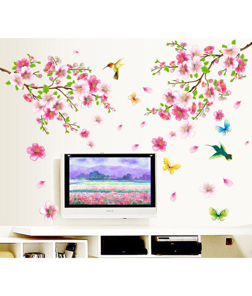 75 Off On Stickerskart Pink And Green Vinyl Flowers Tv Background