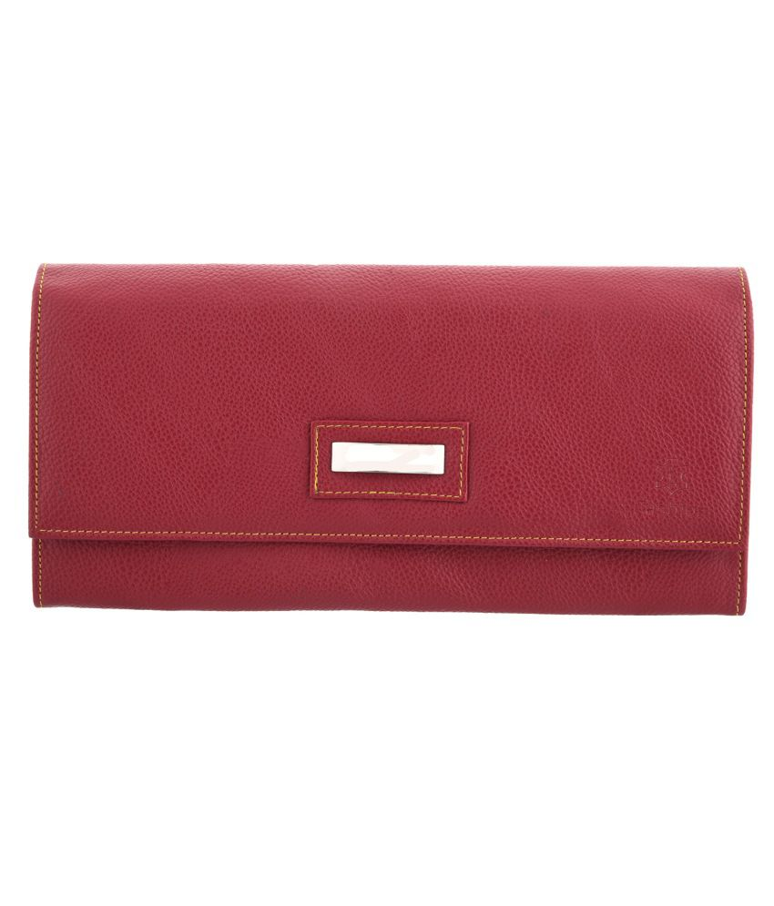 Fashion Leather Maroon Leather Regular Wallet For Women