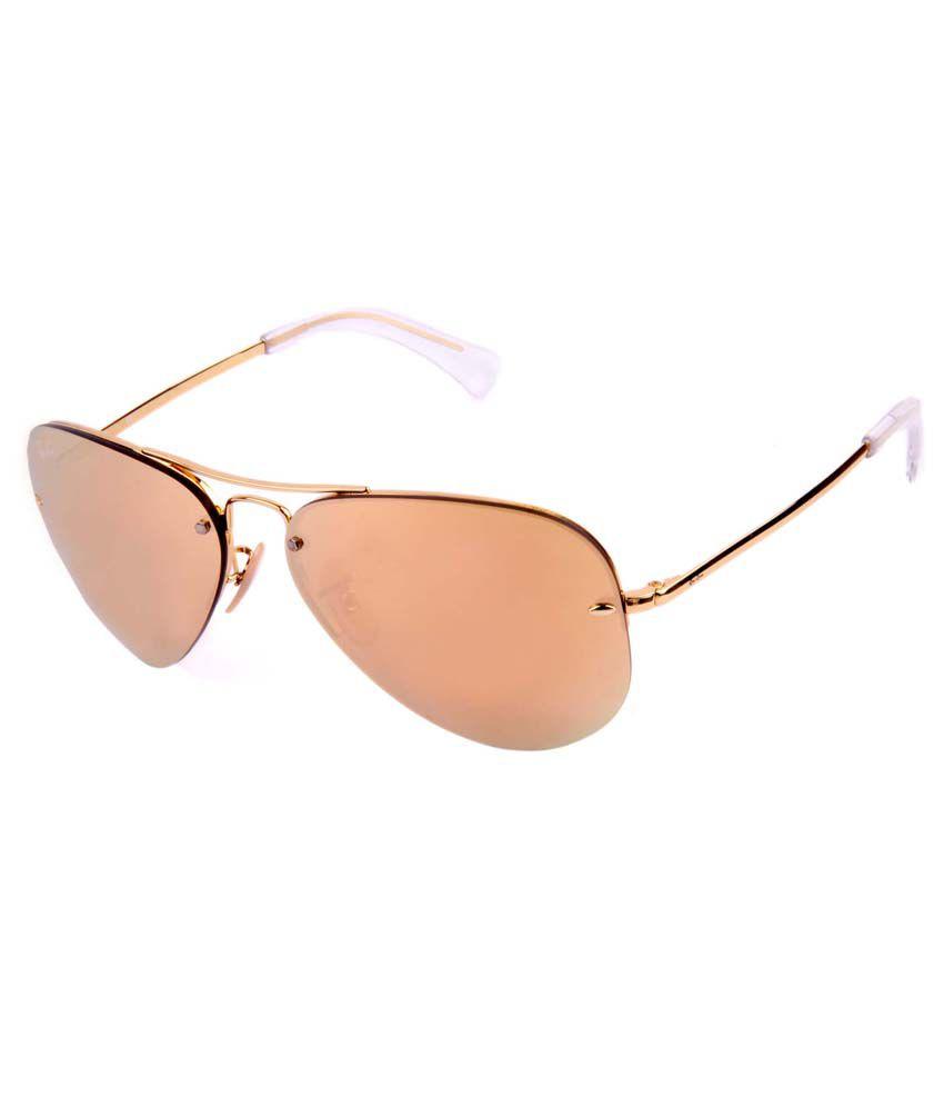 Ray-ban Golden Medium Unisex Aviator Sunglasses
