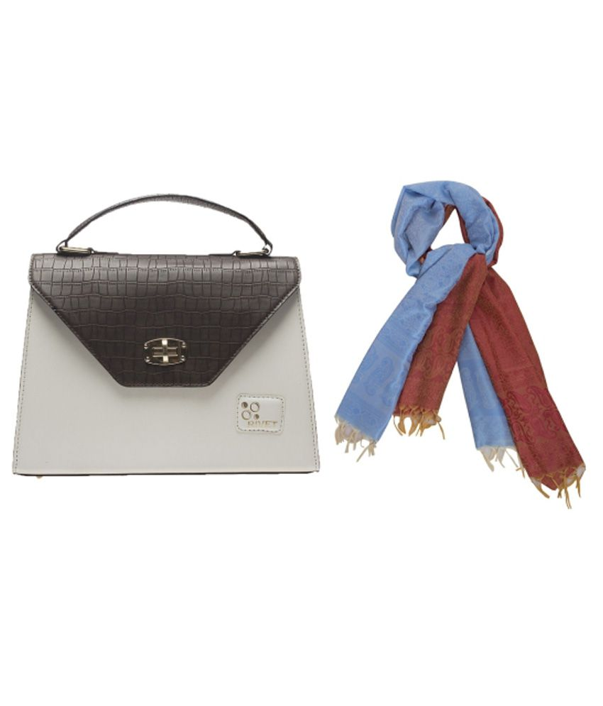 Rivet Brown Croco Handbag with Scarf