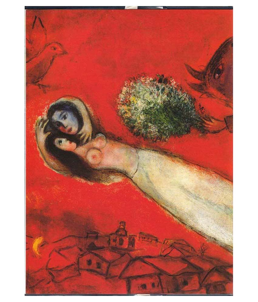 Tallenge Lovers On A Red Background By Marc Chagall Gallery Wrap Canvas Art Print