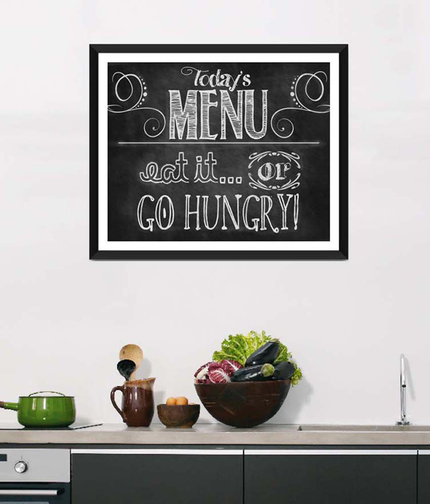 Tallenge Medium Black Art For Kitchen Today's Menu Framed Art Print