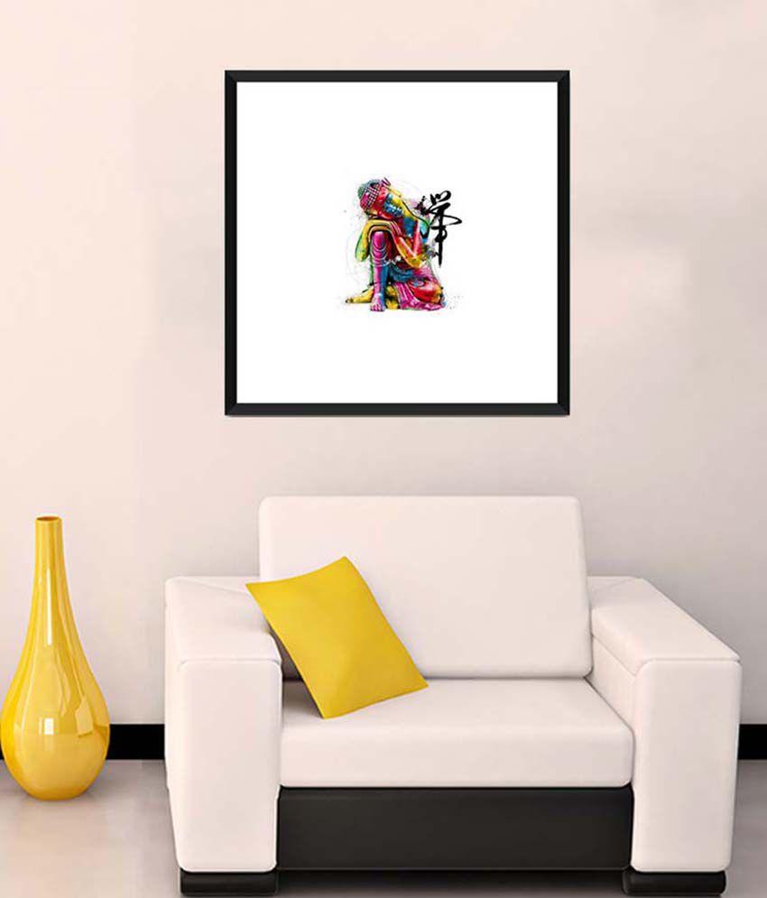 Tallenge Medium Pink Buddha Colourful Art Framed Art Print