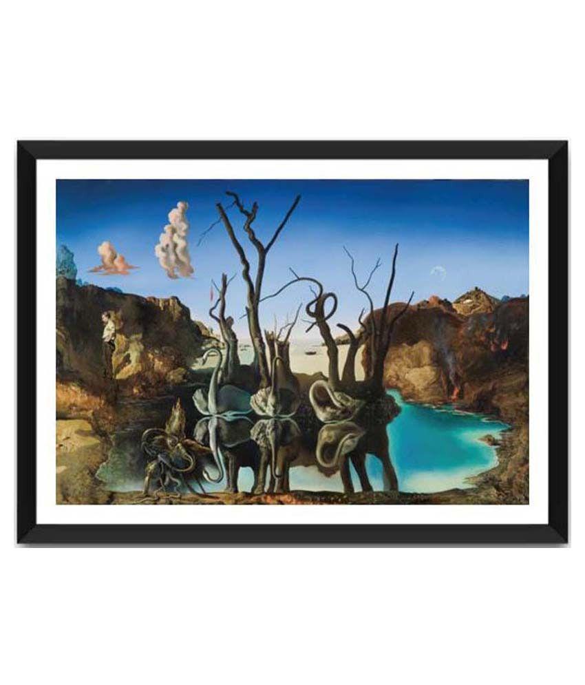 Tallenge Reflections Of Elephants By Salvador Dali Framed Art Print