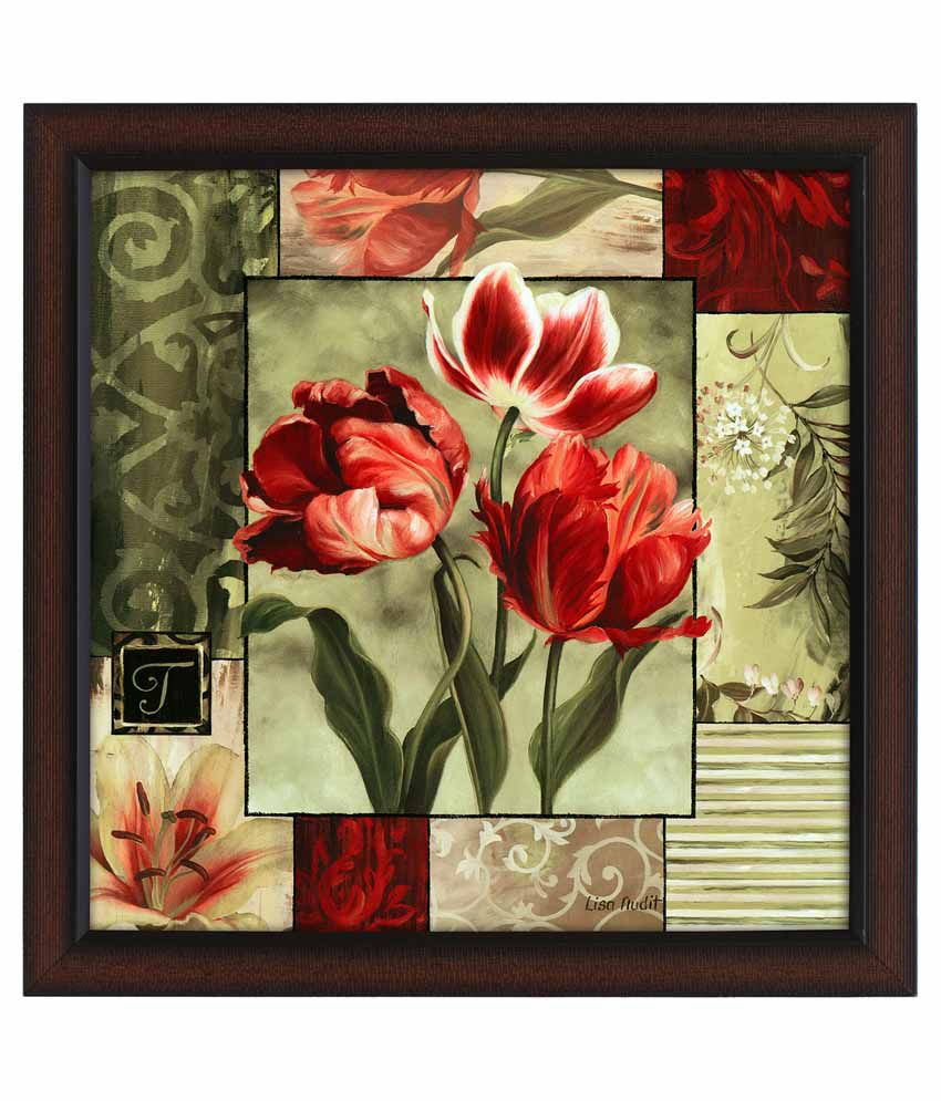 Delight Flower Painting With Wooden Frame