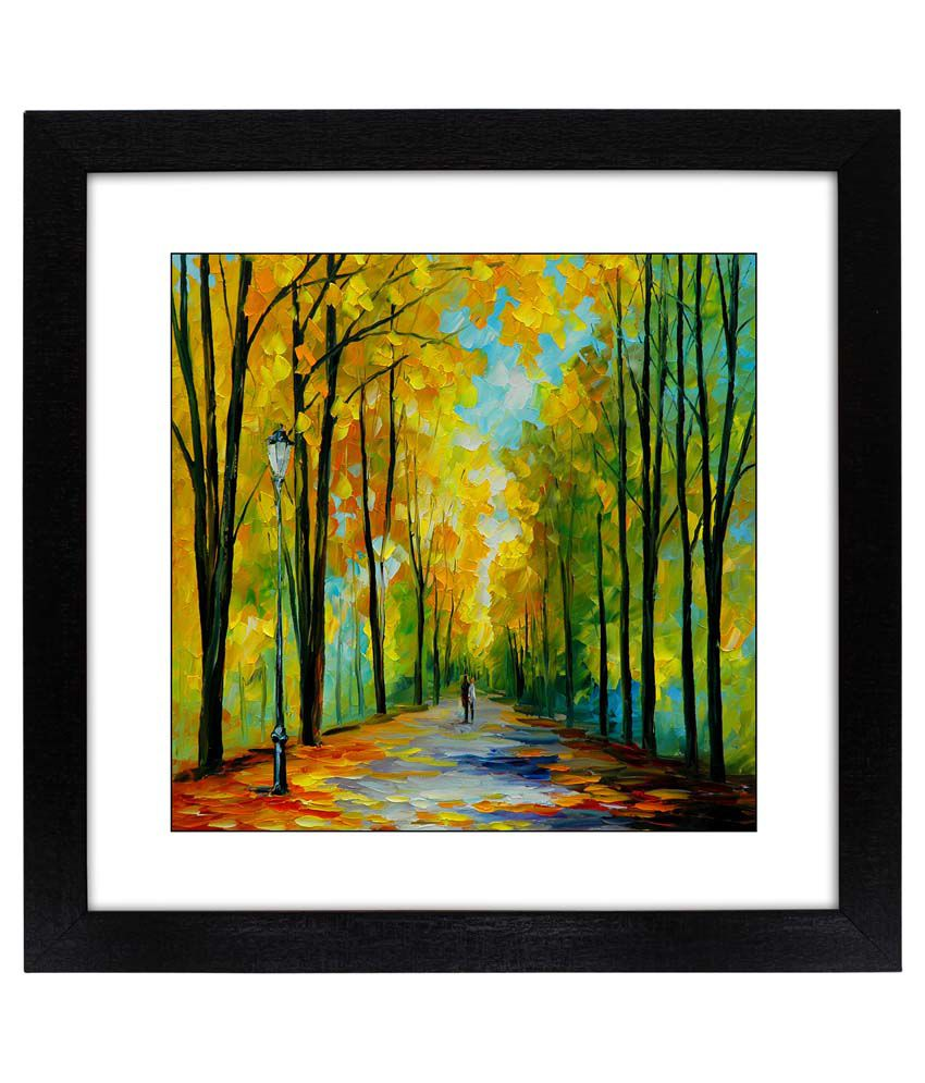 Delight Multicolor Painting With Wooden Frame