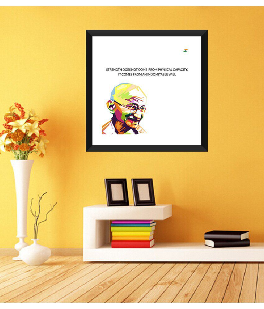Tallenge Mahatma Gandhi Motivational Quotes Strength Does Not Come From Physical Capacity. Framed Art Print