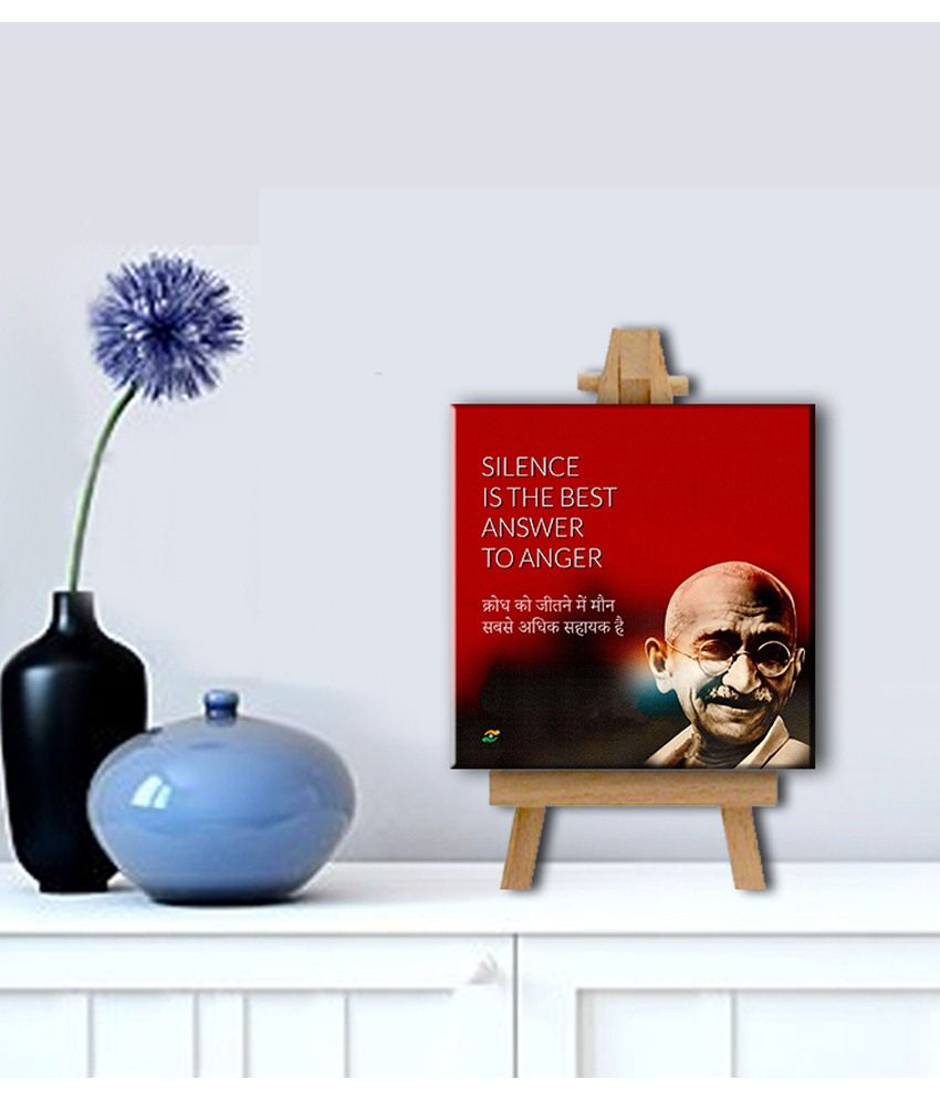 Tallenge Mahatma Gandhi Motivational Quotes In Hindi Silence Gallery Wrap Canvas Art Print With Easel
