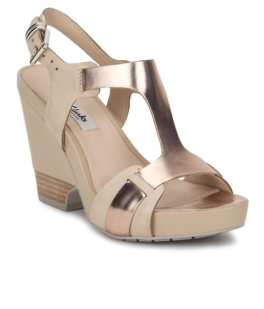 03a71885f7c Clarks Gold Wedges Heels Price in India- Buy Clarks Gold Wedges Heels  Online at Snapdeal