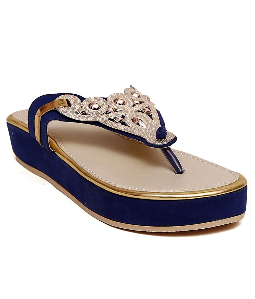 Creative Blue Flat Slip-on & Sandal