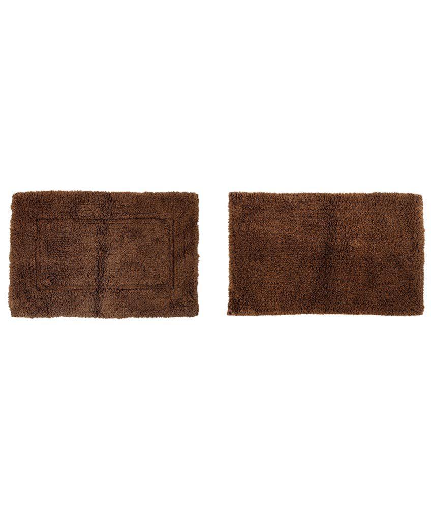 Furhome Brown Plain Cotton Floor Mat - Set of 2