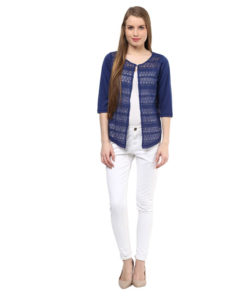 a6fa3068419 Buy 109 F Navy Lace Shrug Online at Best Prices in India - Snapdeal