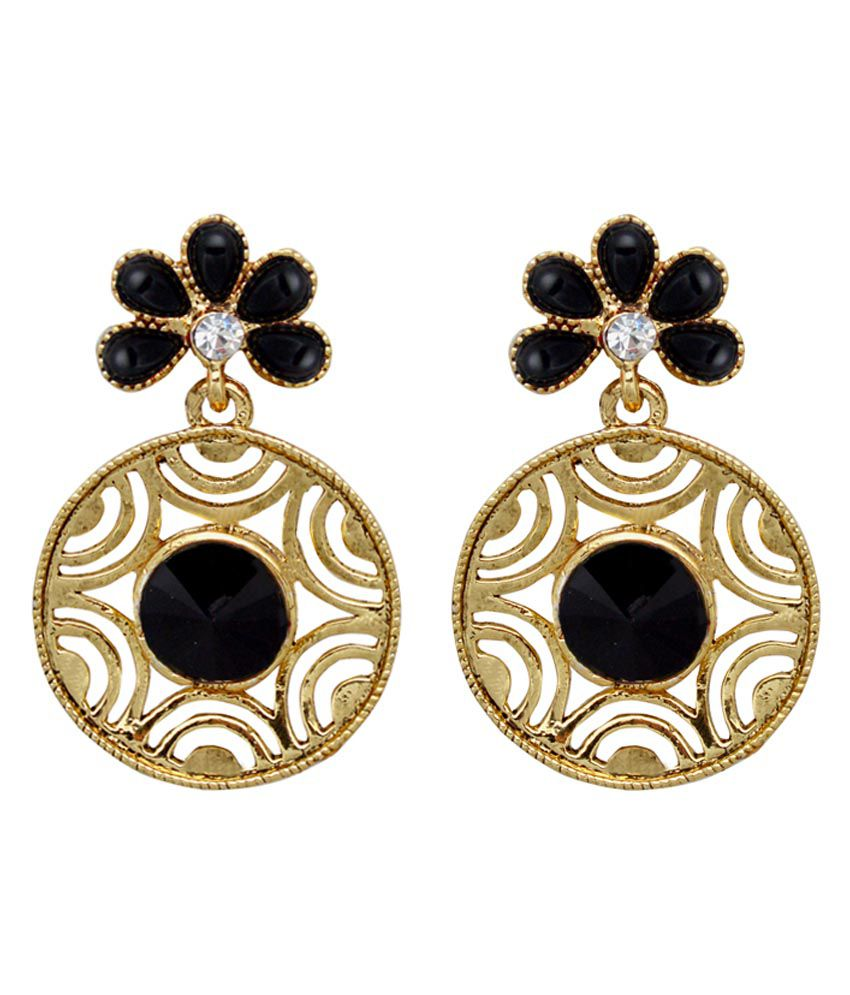 Moshiv Golden and Black Alloy Earrings