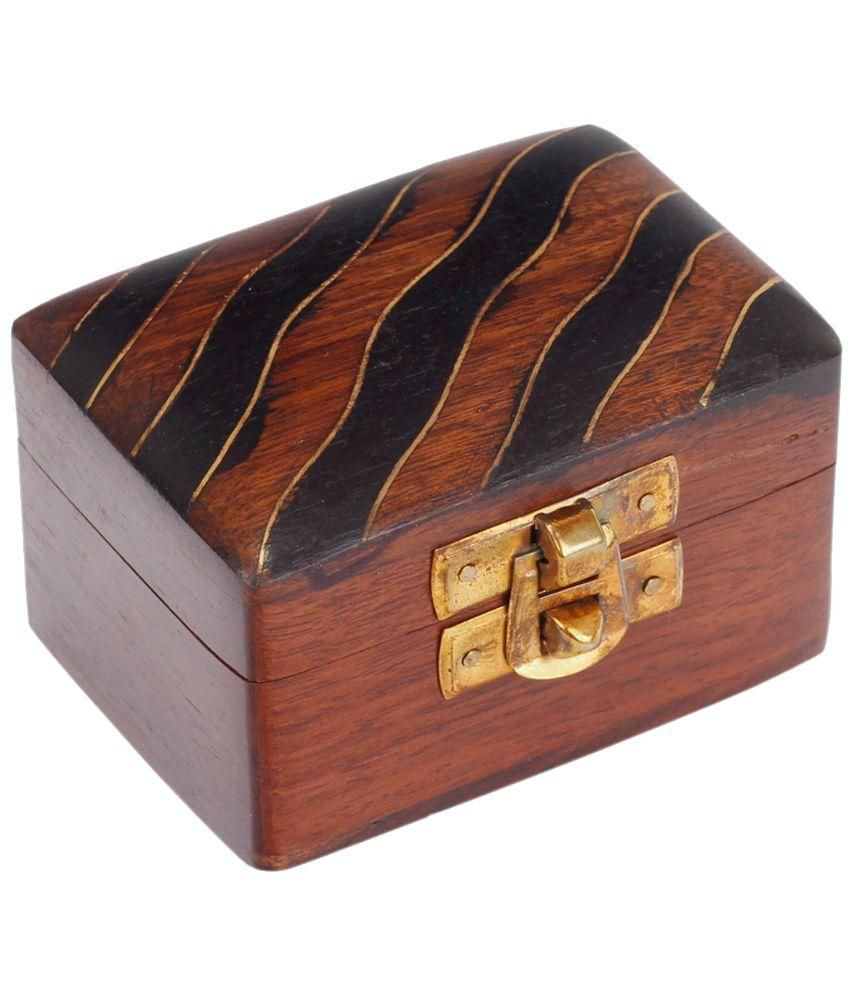 Craft Art India Brown Wooden Decorative Jewelery / Jewellery Box With Designing