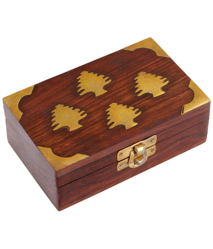 Craft Art India Handmade Small Wooden Jewellery Box With Embossed Brass Design