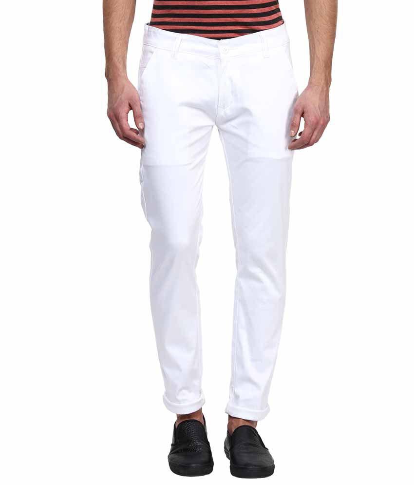 Rodamo White Slim Fit Casual Chinos Trouser