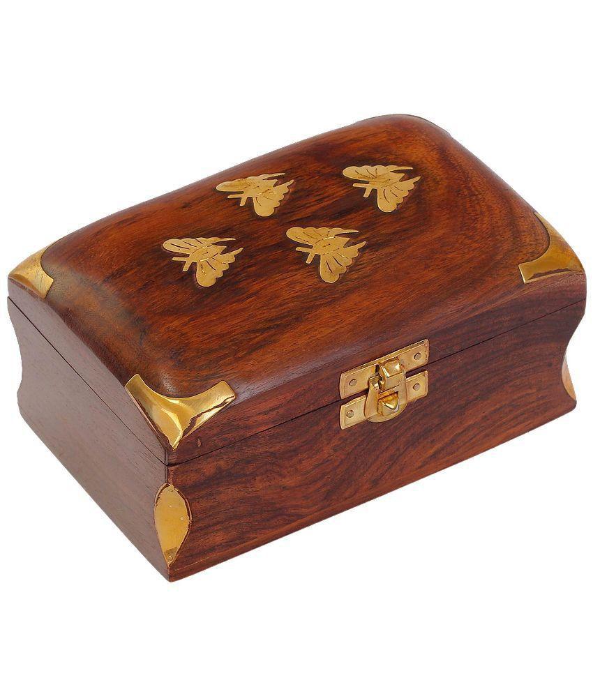 Craft Art India Handmade Small Wooden Jewellery Box With Embossed Brass Design