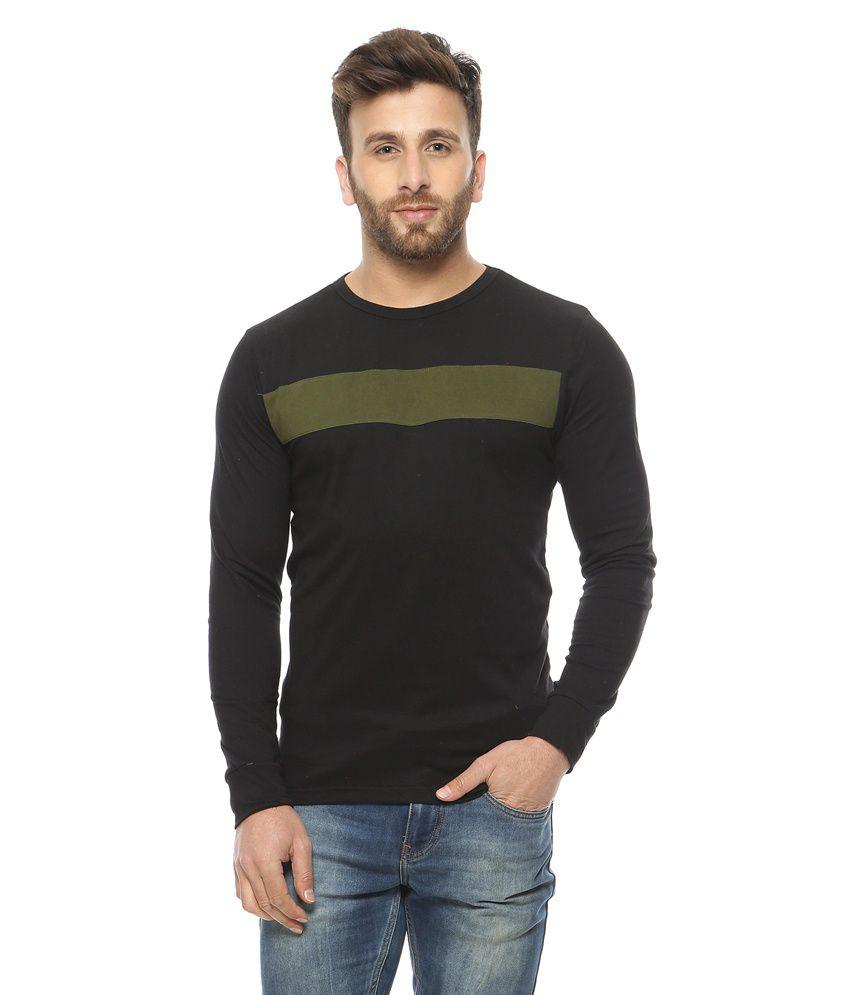 Gritstones Black Round Neck T-Shirt
