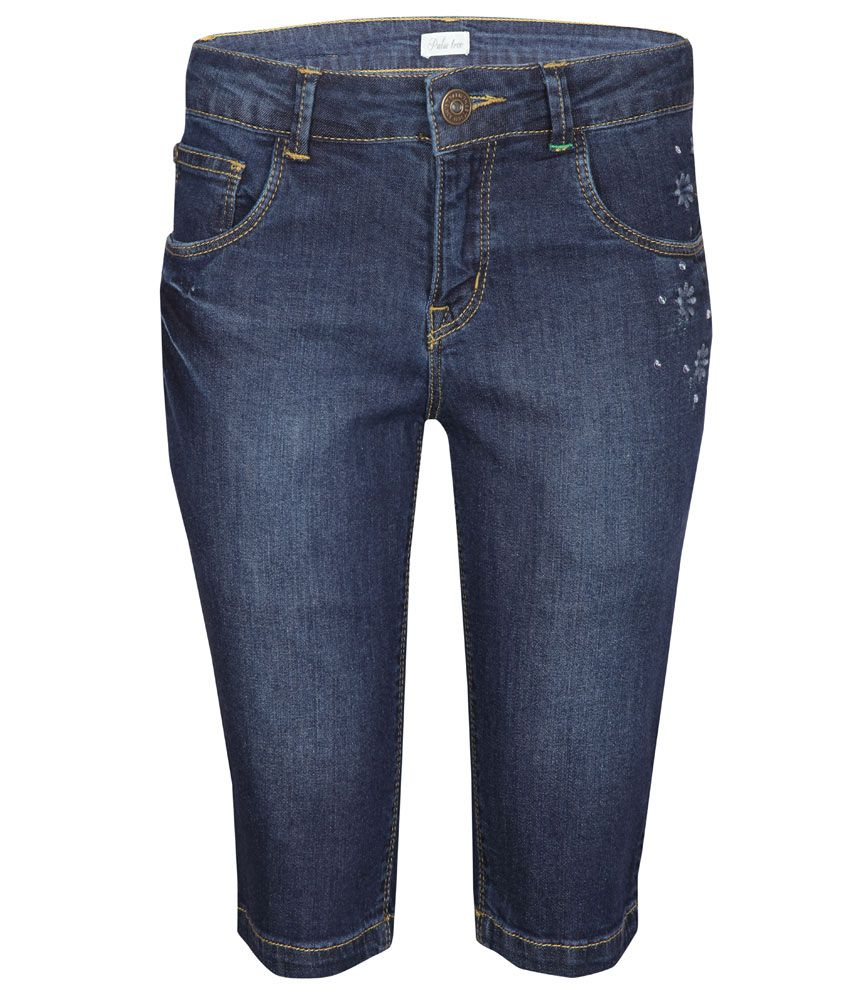 Gini & Jony Blue Regular Fit Denim Pedal Pusher