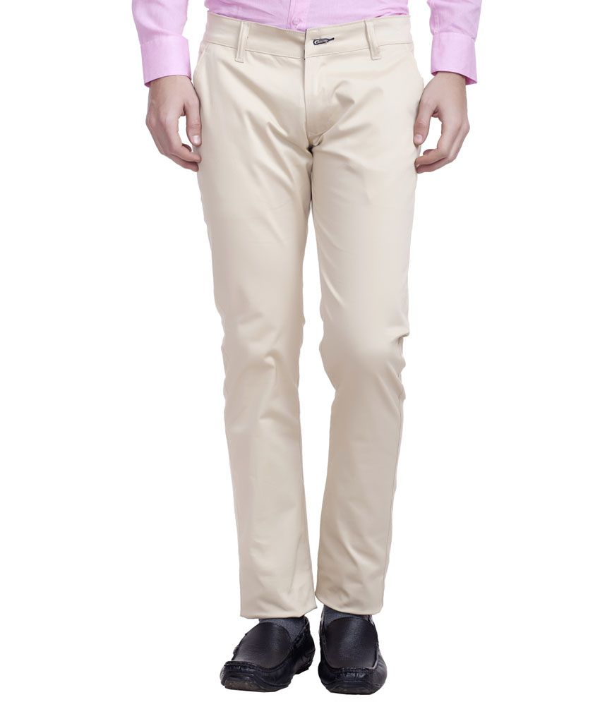 Nimegh Off-White Slim Fit Casual Wear Flat Trouser