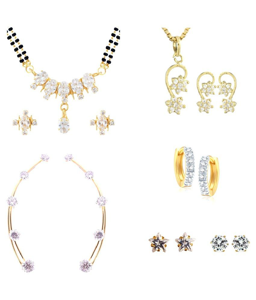Archi Collection Golden & Silver Alloy Combo of Mangalsutra Set, Pendant Set & 4 Pair of Earrings
