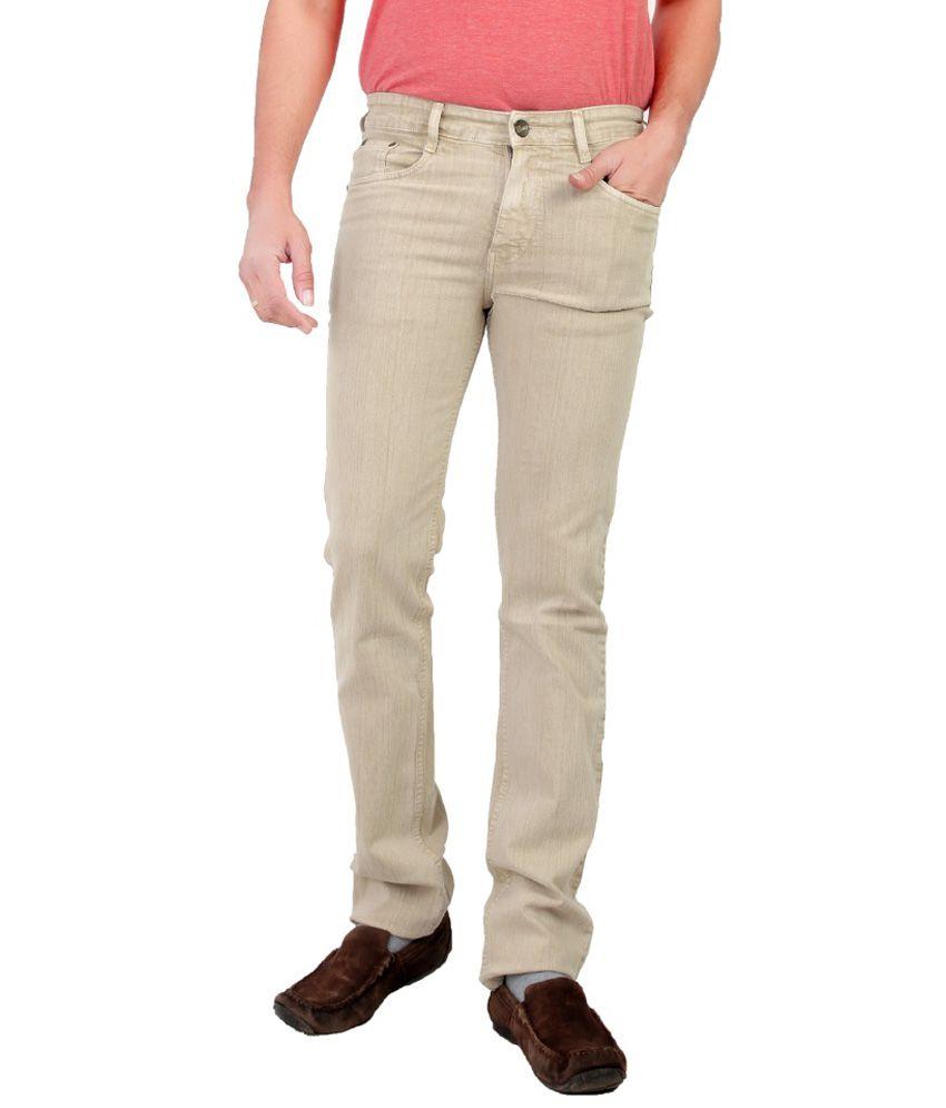 Awack Beige Slim Fit Jeans