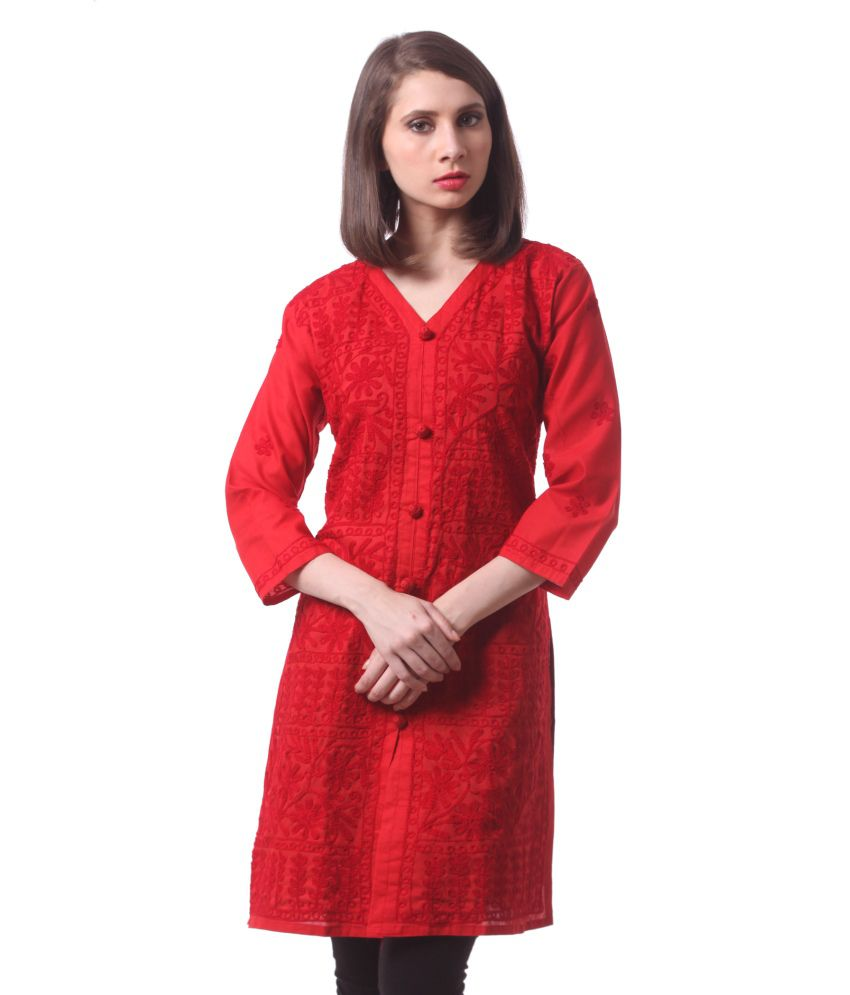 Saadgi Red Straight Cotton Kurti