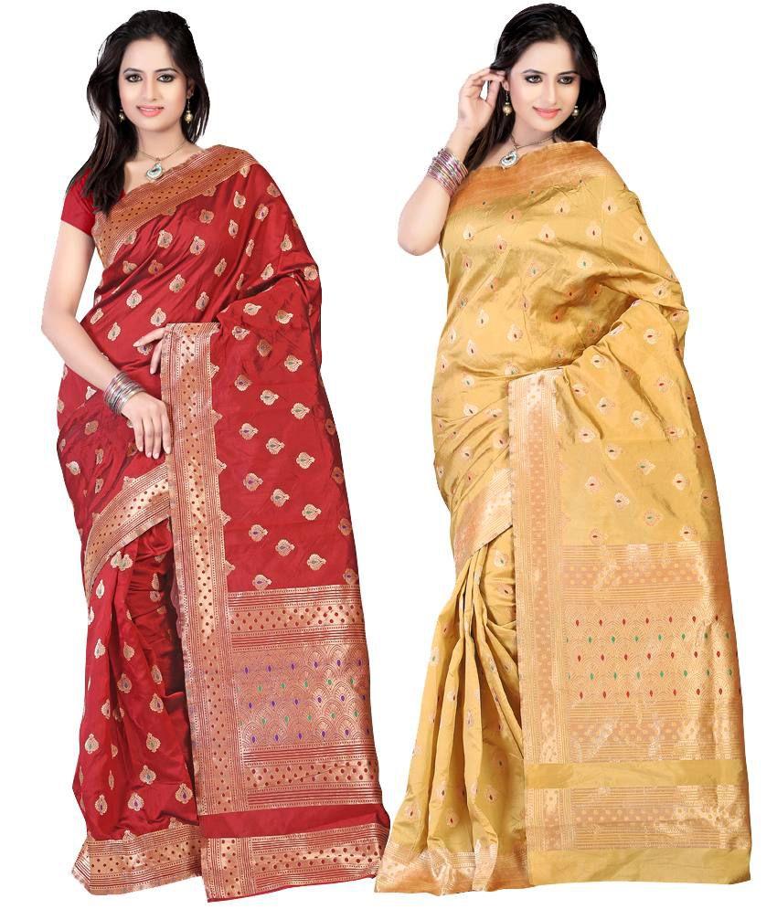 Ansu Fashion Multi Banarasi Silk Pack of 2