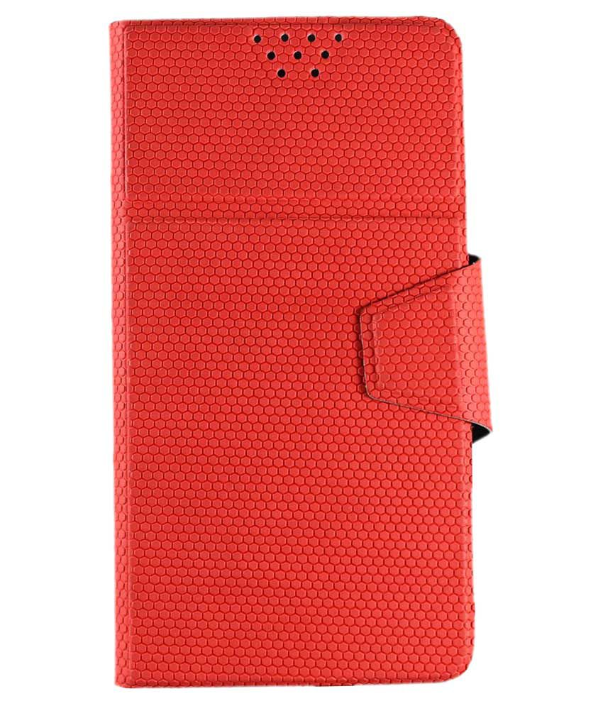 Molife Universal Flip Cover For Alcatel One Touch Flash 2 - Red