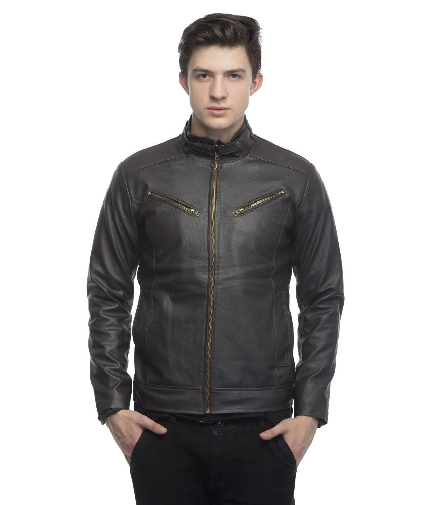 Lambency Brown PU Leather Biker Jackets
