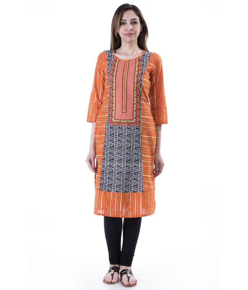 AARR Orange Straight Cotton Kurti