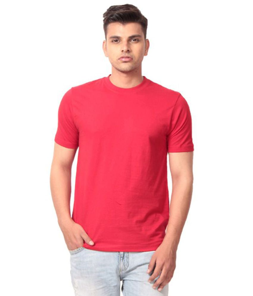 Fashiopetra Red Round T Shirts Yes